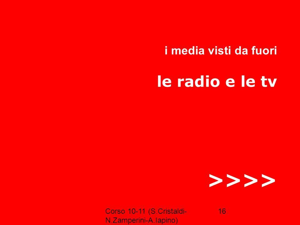 >>>> le radio e le tv i media visti da fuori