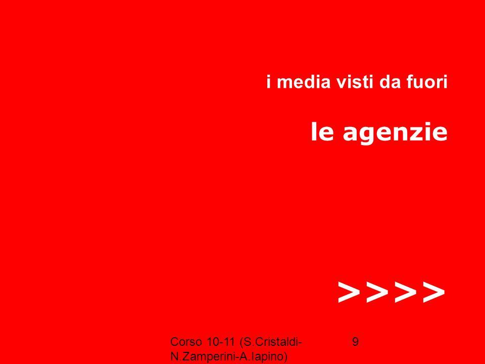 >>>> le agenzie i media visti da fuori