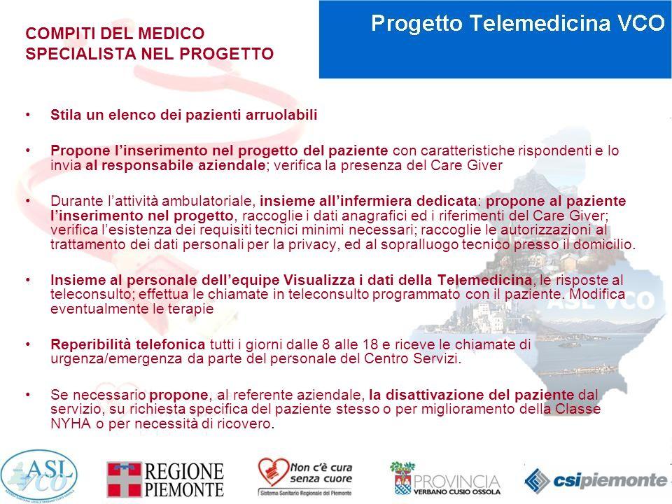 COMPITI DEL MEDICO SPECIALISTA NEL PROGETTO