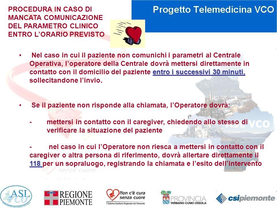 PROCEDURA IN CASO DI MANCATA COMUNICAZIONE DEL PARAMETRO CLINICO ENTRO L'ORARIO PREVISTO