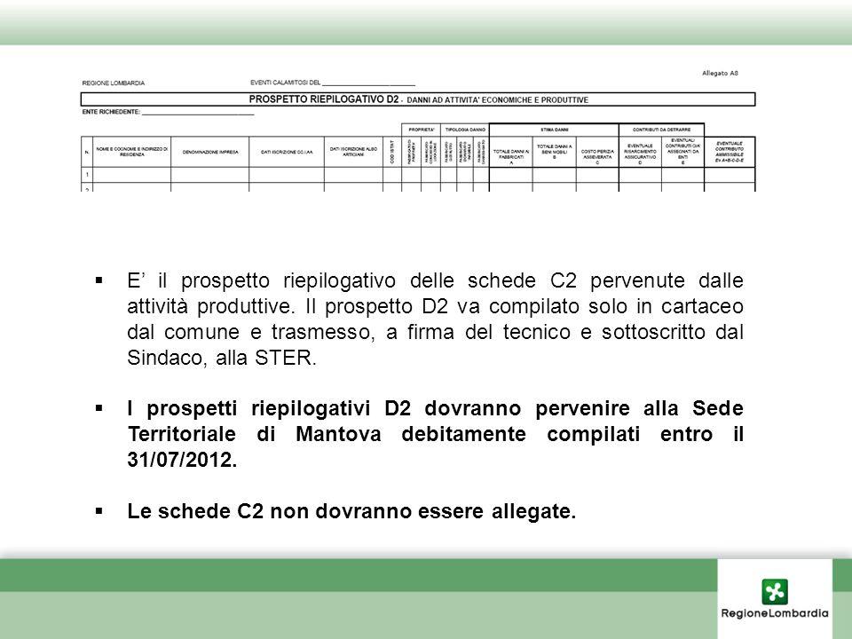 E' il prospetto riepilogativo delle schede C2 pervenute dalle attività produttive. Il prospetto D2 va compilato solo in cartaceo dal comune e trasmesso, a firma del tecnico e sottoscritto dal Sindaco, alla STER.
