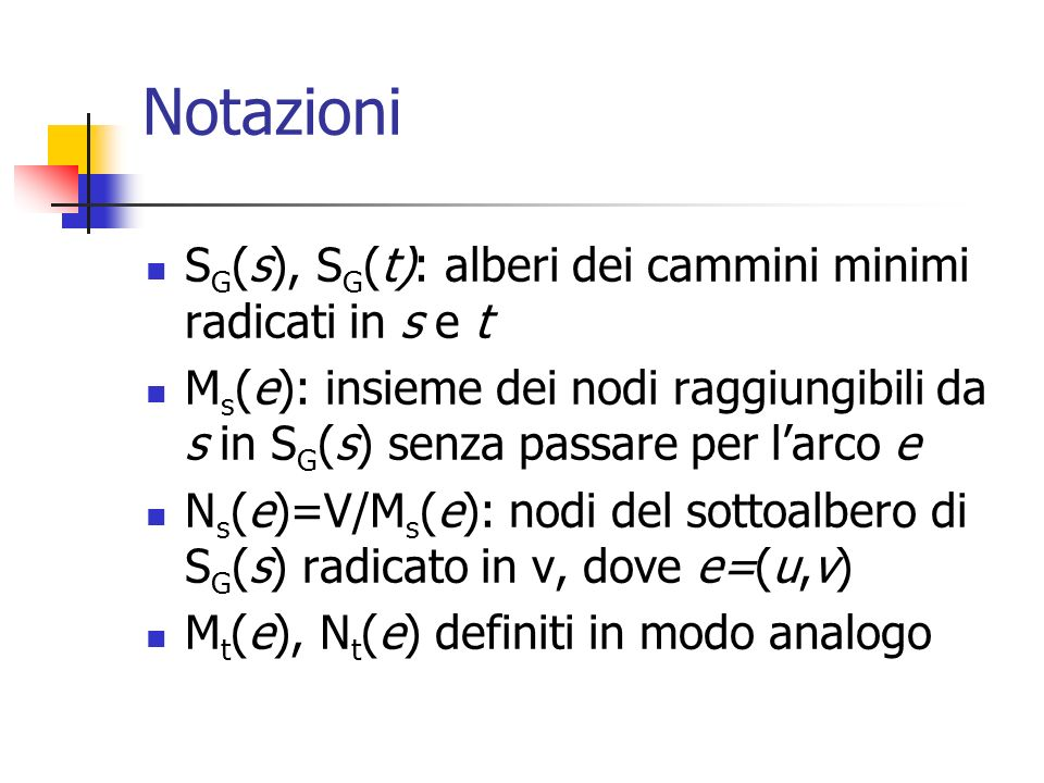 Notazioni SG(s), SG(t): alberi dei cammini minimi radicati in s e t