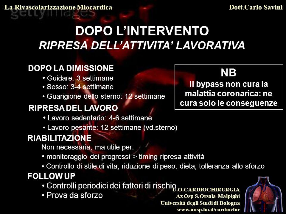 DOPO L'INTERVENTO RIPRESA DELL'ATTIVITA' LAVORATIVA NB