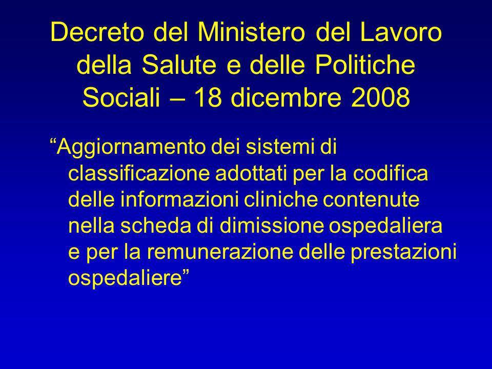 Decreto del Ministero del Lavoro della Salute e delle Politiche Sociali – 18 dicembre 2008