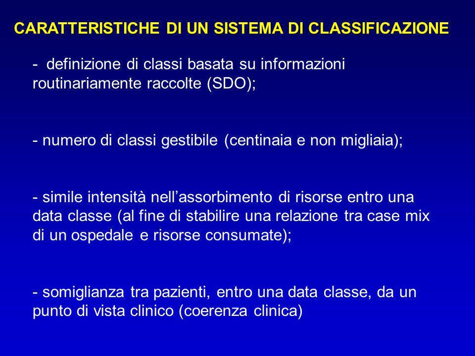 CARATTERISTICHE DI UN SISTEMA DI CLASSIFICAZIONE
