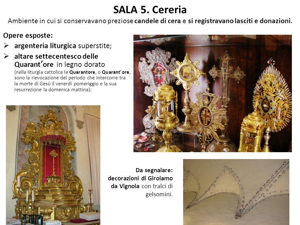 SALA 5. Cereria Ambiente in cui si conservavano preziose candele di cera e si registravano lasciti e donazioni.