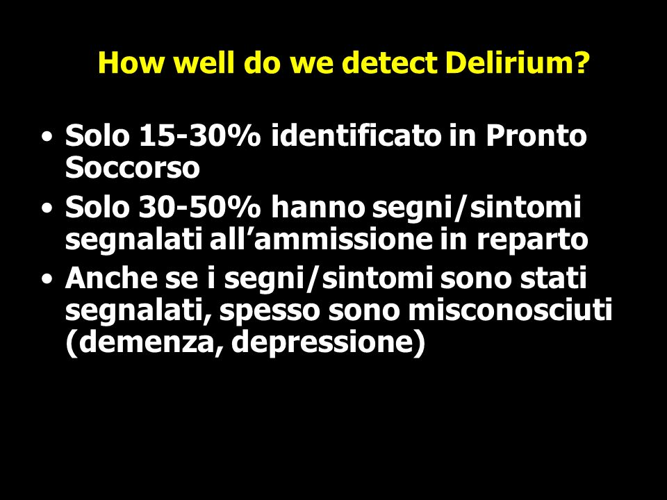 How well do we detect Delirium