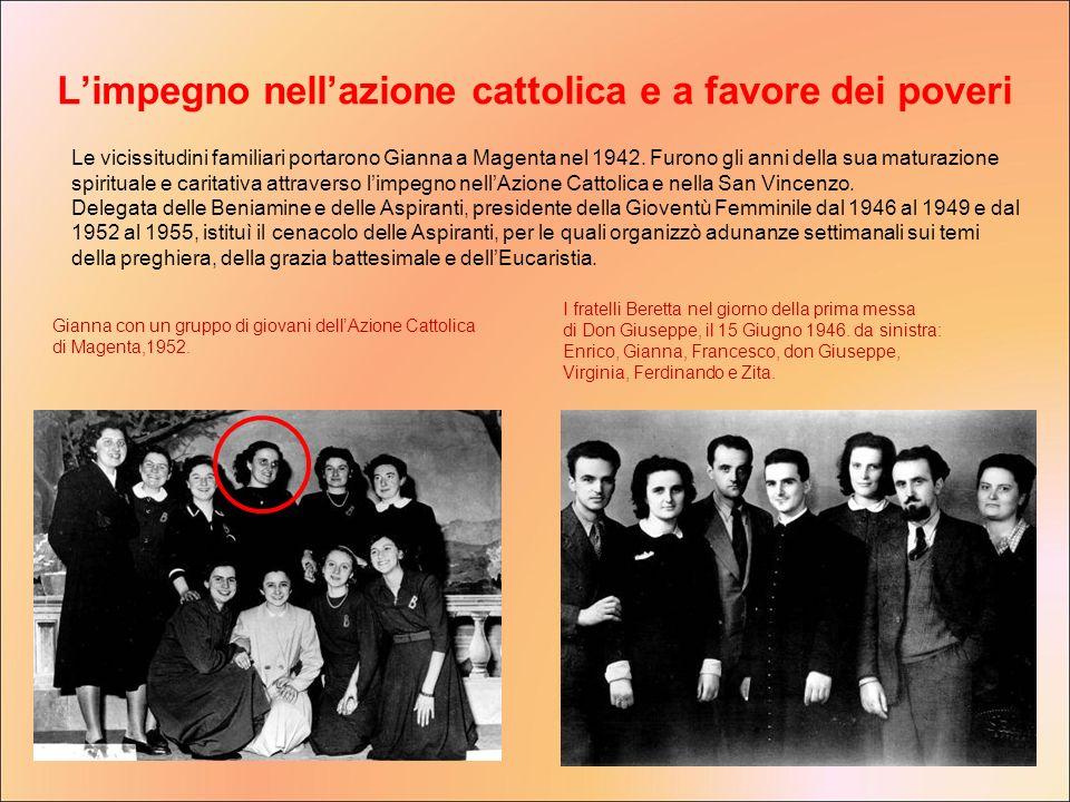 L'impegno nell'azione cattolica e a favore dei poveri