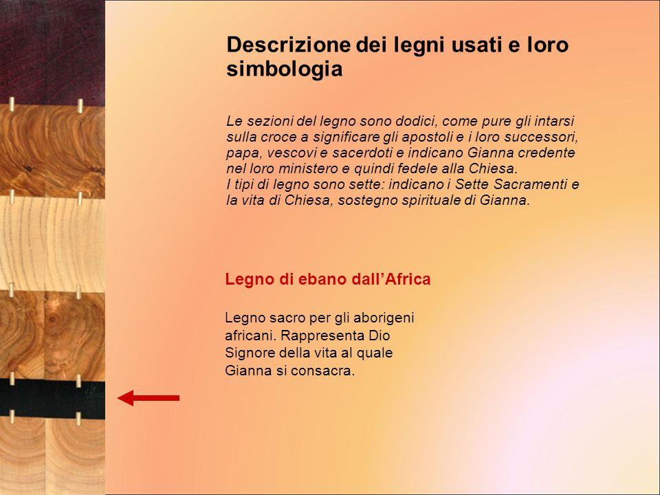 Descrizione dei legni usati e loro simbologia