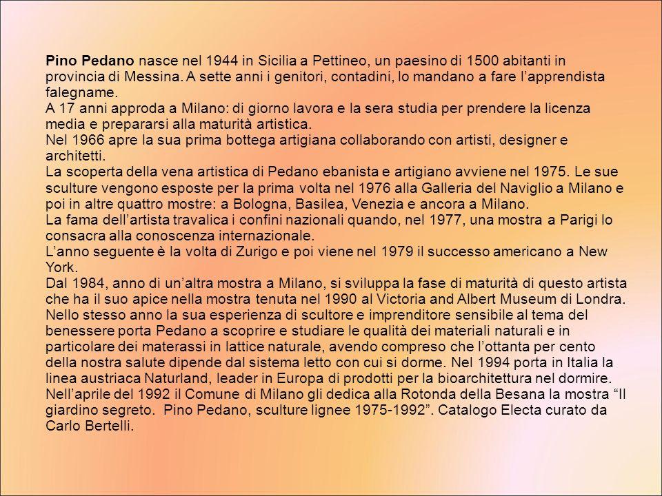 Pino Pedano nasce nel 1944 in Sicilia a Pettineo, un paesino di 1500 abitanti in provincia di Messina. A sette anni i genitori, contadini, lo mandano a fare l'apprendista falegname.