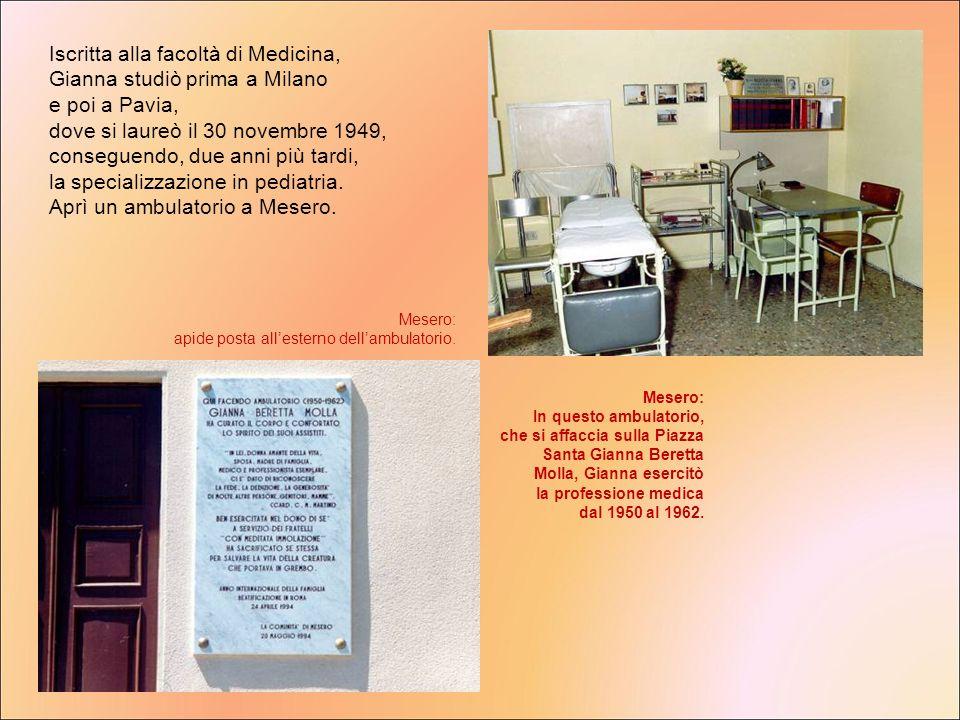 Iscritta alla facoltà di Medicina, Gianna studiò prima a Milano e poi a Pavia, dove si laureò il 30 novembre 1949, conseguendo, due anni più tardi, la specializzazione in pediatria. Aprì un ambulatorio a Mesero.