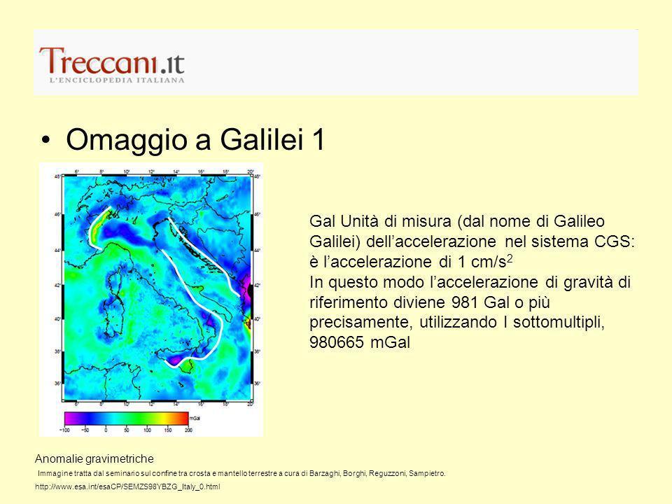 Omaggio a Galilei 1 Gal Unità di misura (dal nome di Galileo Galilei) dell'accelerazione nel sistema CGS: è l'accelerazione di 1 cm/s2.