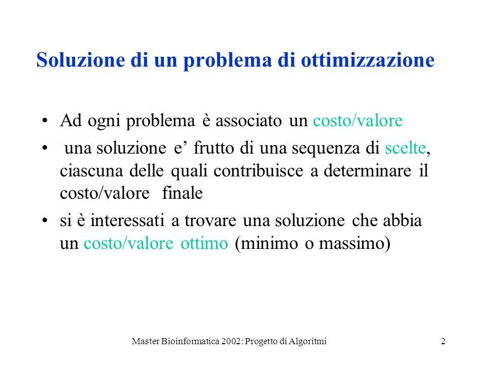 Soluzione di un problema di ottimizzazione