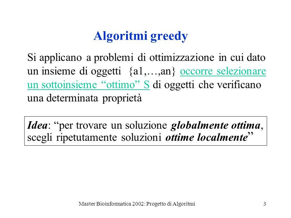 Master Bioinformatica 2002: Progetto di Algoritmi