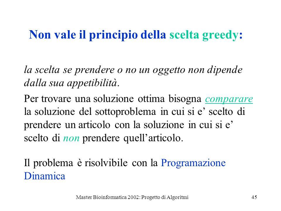 Non vale il principio della scelta greedy: