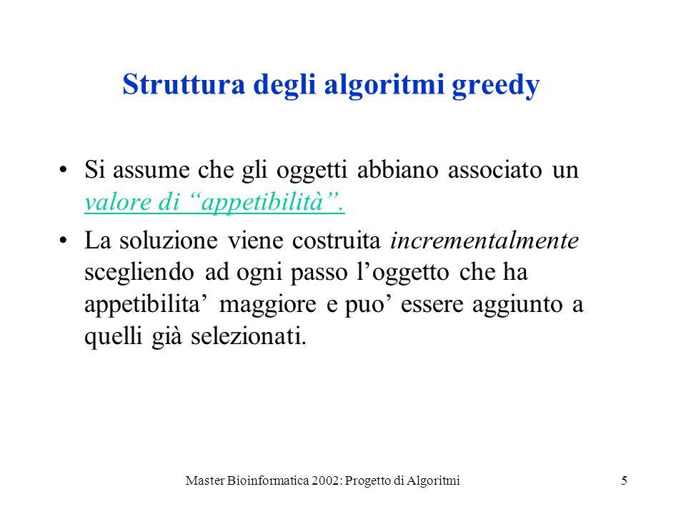 Struttura degli algoritmi greedy
