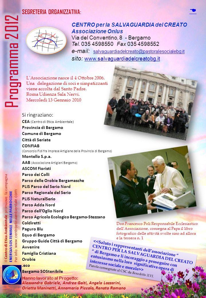 Programma 2012 D SEGRETERIA ORGANIZZATIVA: