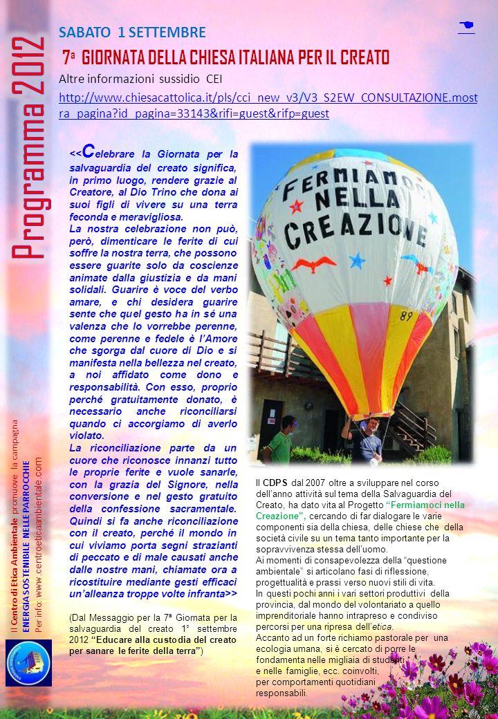 Programma 2012 D SABATO 1 SETTEMBRE