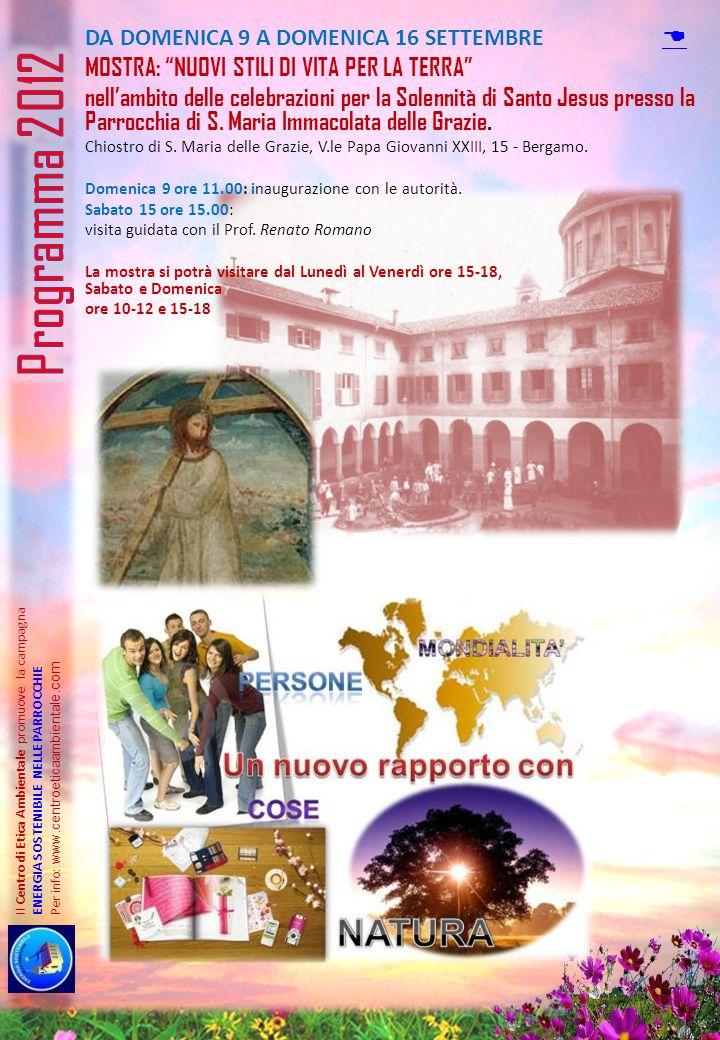Programma 2012 D Mostra: nuovi stili di vita per la terra