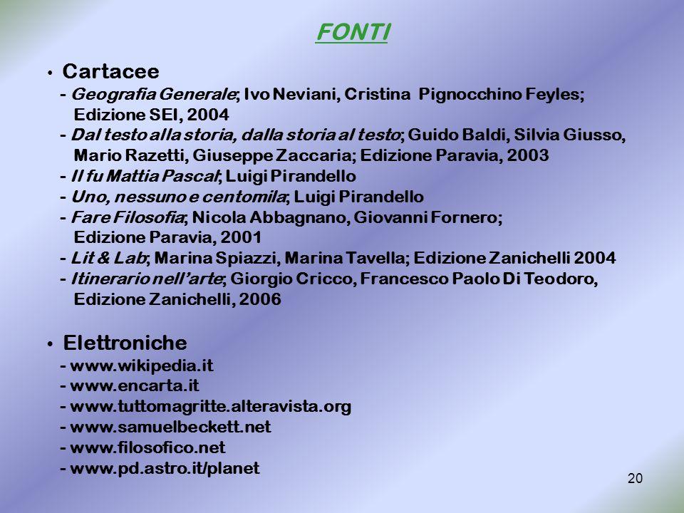 FONTI Cartacee. - Geografia Generale; Ivo Neviani, Cristina Pignocchino Feyles; Edizione SEI, 2004.