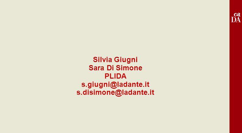 Silvia Giugni Sara Di Simone PLIDA s.giugni@ladante.it
