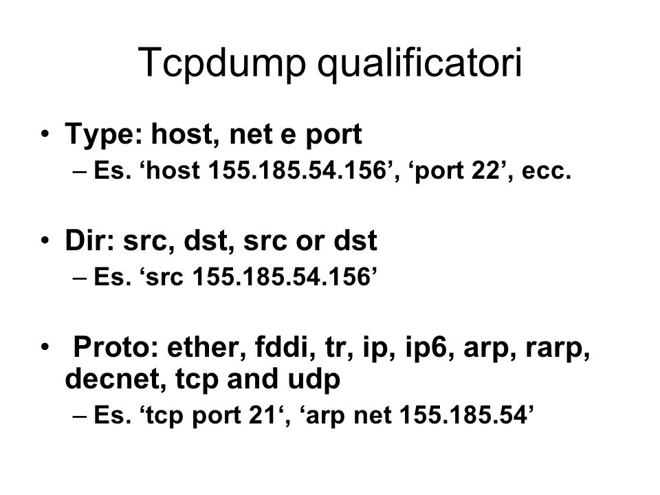 Tcpdump qualificatori