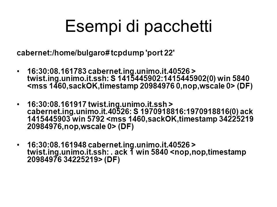Esempi di pacchetti cabernet:/home/bulgaro# tcpdump port 22