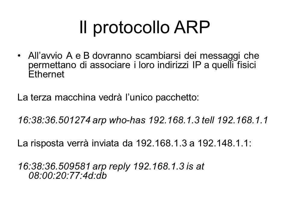 Il protocollo ARP All'avvio A e B dovranno scambiarsi dei messaggi che permettano di associare i loro indirizzi IP a quelli fisici Ethernet.