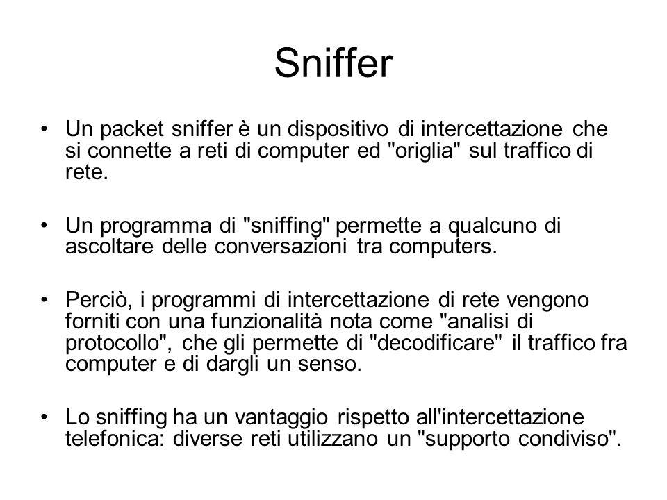 Sniffer Un packet sniffer è un dispositivo di intercettazione che si connette a reti di computer ed origlia sul traffico di rete.