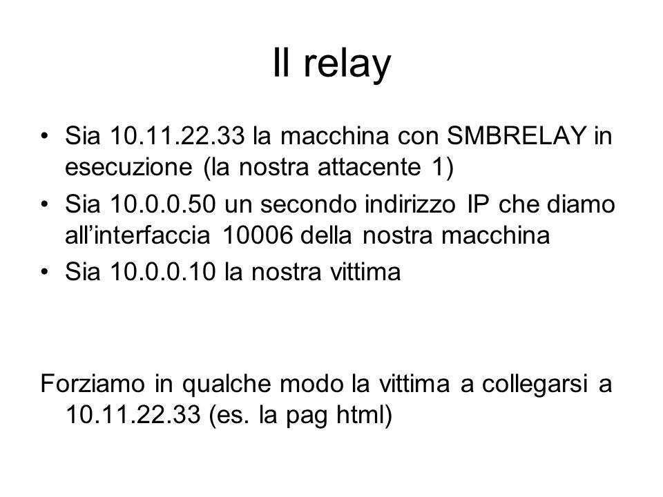 Il relaySia 10.11.22.33 la macchina con SMBRELAY in esecuzione (la nostra attacente 1)