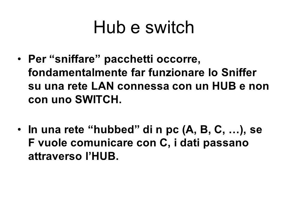 Hub e switch Per sniffare pacchetti occorre, fondamentalmente far funzionare lo Sniffer su una rete LAN connessa con un HUB e non con uno SWITCH.
