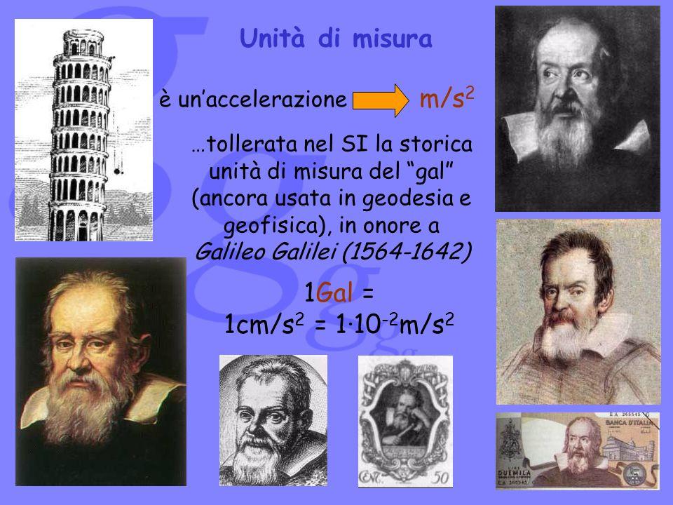 Unità di misura m/s2 1Gal = 1cm/s2 = 1·10-2m/s2 è un'accelerazione