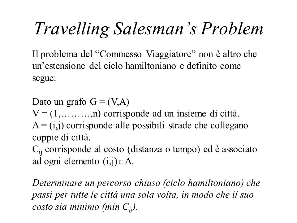 Travelling Salesman's Problem