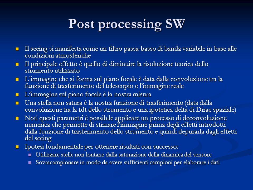 Post processing SW Il seeing si manifesta come un filtro passa-basso di banda variabile in base alle condizioni atmosferiche.