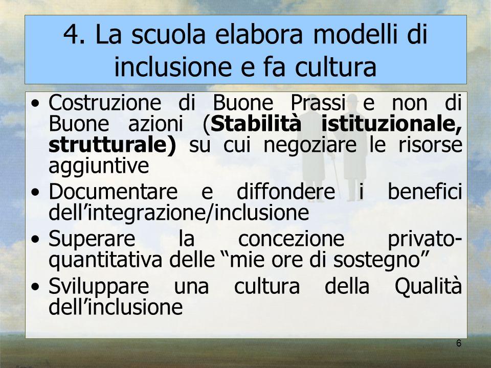 4. La scuola elabora modelli di inclusione e fa cultura