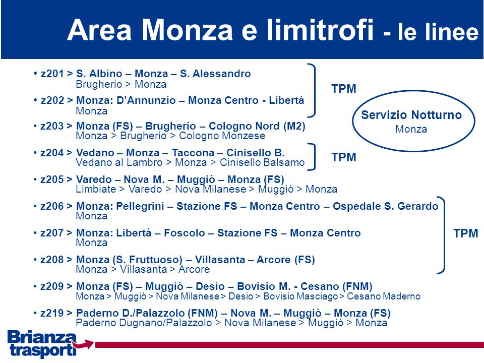 Area Monza e limitrofi - le linee