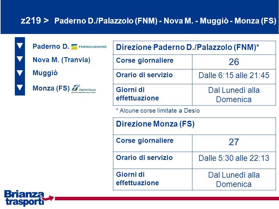 z219 > Paderno D./Palazzolo (FNM) - Nova M. - Muggiò - Monza (FS)