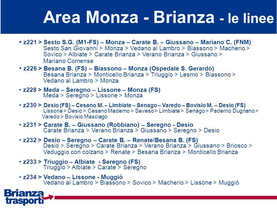 Area Monza - Brianza - le linee
