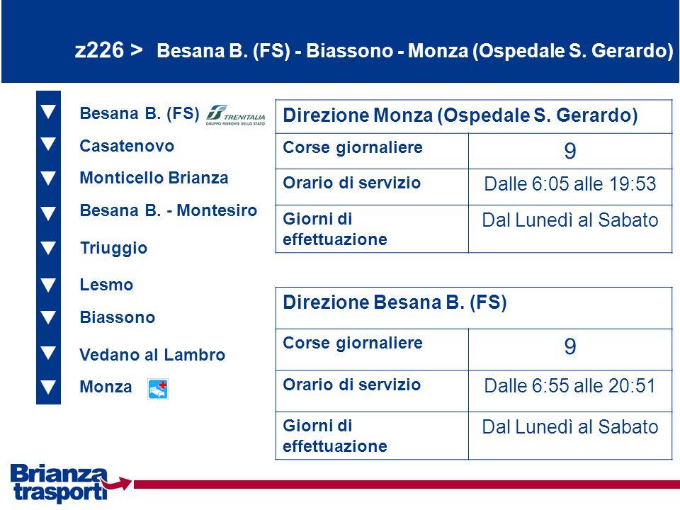 z226 > Besana B. (FS) - Biassono - Monza (Ospedale S. Gerardo)