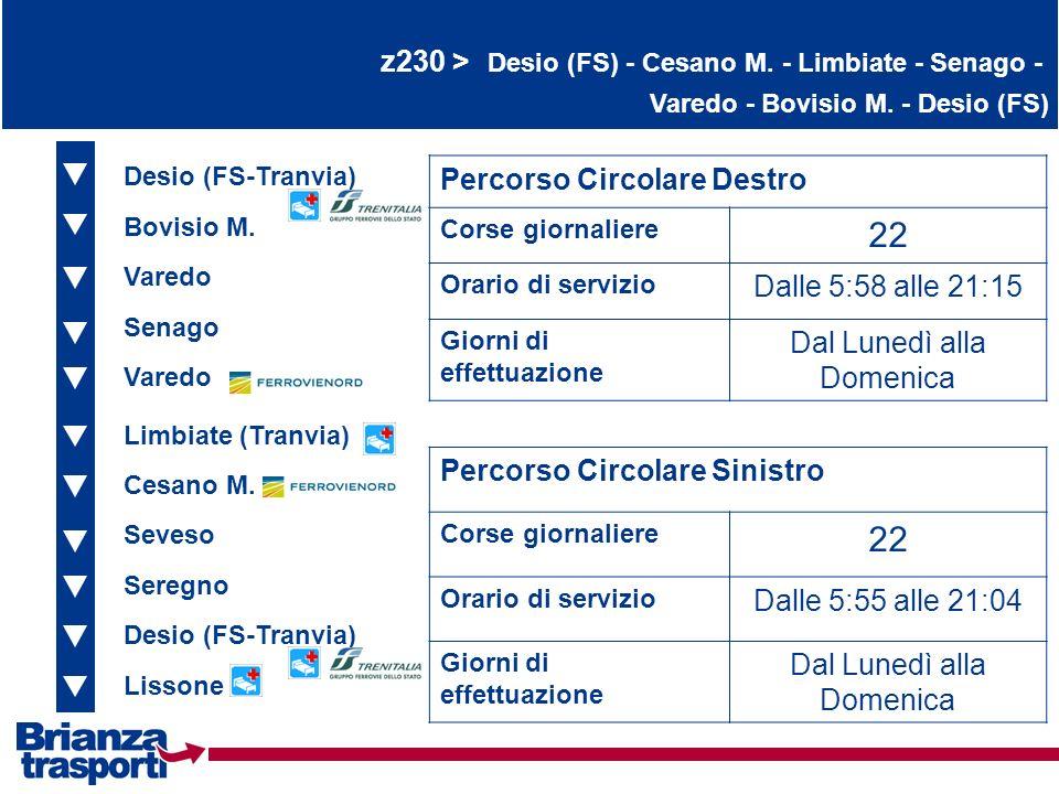 22 22 z230 > Desio (FS) - Cesano M. - Limbiate - Senago -