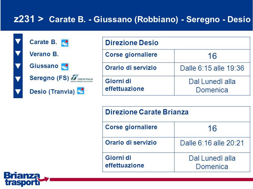 z231 > Carate B. - Giussano (Robbiano) - Seregno - Desio