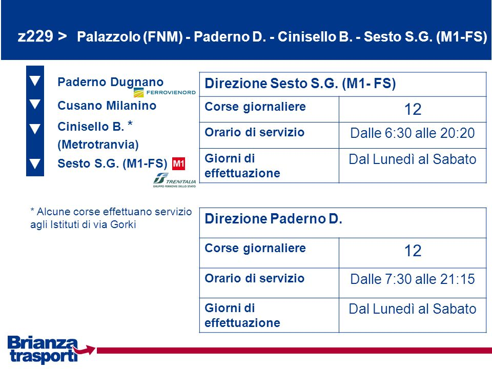 z229 > Palazzolo (FNM) - Paderno D. - Cinisello B. - Sesto S. G