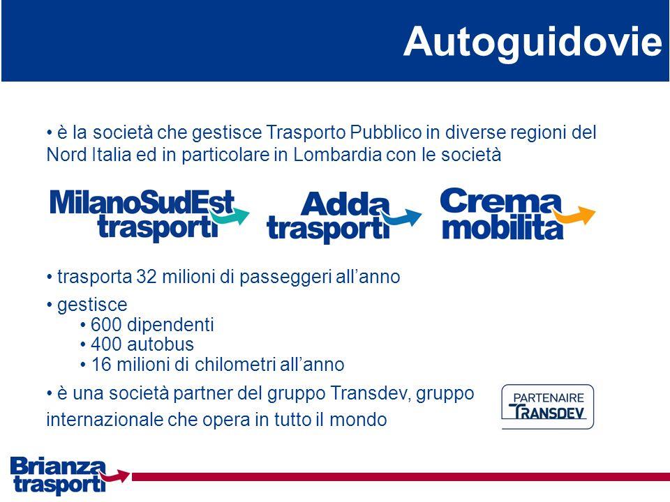 Autoguidovieè la società che gestisce Trasporto Pubblico in diverse regioni del Nord Italia ed in particolare in Lombardia con le società.