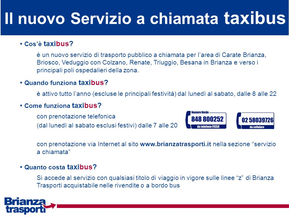 Il nuovo Servizio a chiamata taxibus
