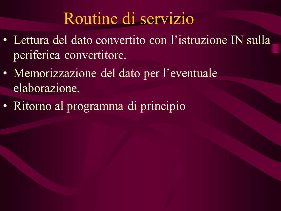 Routine di servizio Lettura del dato convertito con l'istruzione IN sulla periferica convertitore.