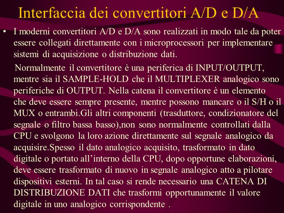 Interfaccia dei convertitori A/D e D/A