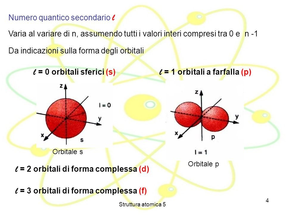 l = 0 orbitali sferici (s) l = 1 orbitali a farfalla (p)
