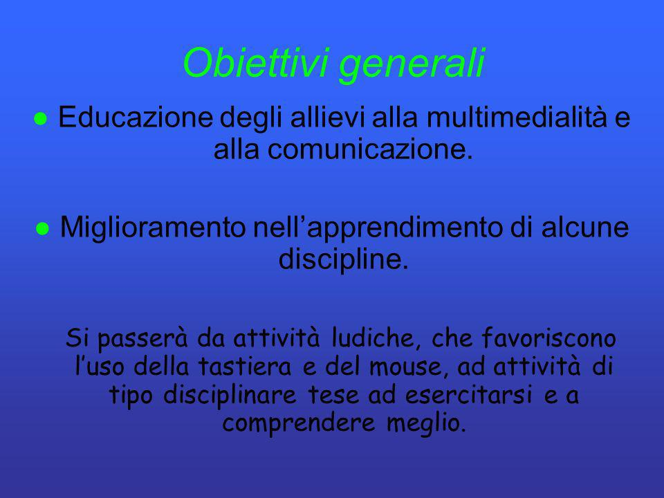 Obiettivi generali● Educazione degli allievi alla multimedialità e alla comunicazione. ● Miglioramento nell'apprendimento di alcune discipline.