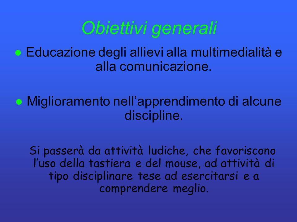 Obiettivi generali ● Educazione degli allievi alla multimedialità e alla comunicazione. ● Miglioramento nell'apprendimento di alcune discipline.