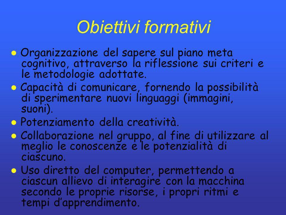 Obiettivi formativi ● Organizzazione del sapere sul piano meta cognitivo, attraverso la riflessione sui criteri e le metodologie adottate.